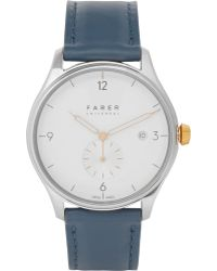 Farer - Meakin Stainless Steel And Leather Watch - Lyst