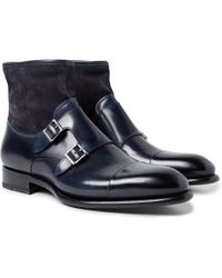 Santoni | Cap-toe Leather And Suede Monk-strap Boots | Lyst