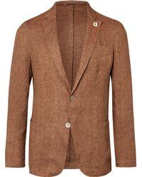 Lardini - Brown Linen Blazer - Lyst