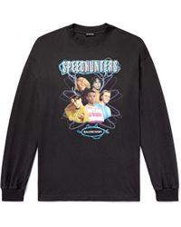 Balenciaga - Oversized Printed Cotton-jersey T-shirt - Lyst