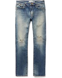 Nonnative - Dweller Slim-fit Distressed Selvedge Denim Jeans - Lyst