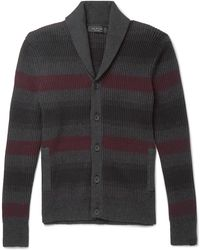 Rag & Bone - Shawl-collar Striped Ribbed Cotton And Cashmere-blend Cardigan - Lyst