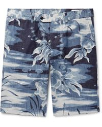 Officine Generale - Julian Slim-fit Printed Cotton Shorts - Lyst