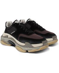 Balenciaga - Triple S Nylon, Mesh, Suede And Leather Trainers - Lyst