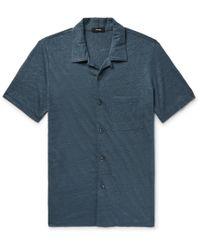 Theory - Slim-fit Camp-collar Mélange Slub Linen Shirt - Lyst