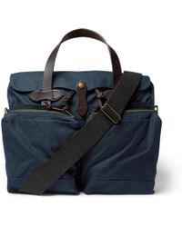 Filson - Leather-trimmed Waxed Cotton-canvas Briefcase - Lyst