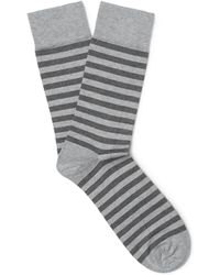 John Smedley - Hecate Striped Sea Island Cotton-blend Socks - Lyst