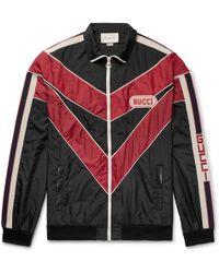 505a6ac46 Gucci Reversible Appliquéd Satin-jacquard Bomber Jacket for Men - Lyst