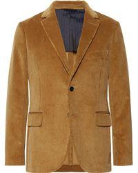 Mp Massimo Piombo - Camel Slim-fit Cotton-corduroy Suit Jacket - Lyst