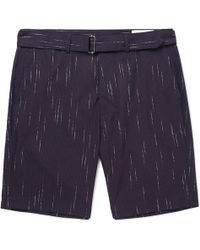 Officine Generale - Julian Striped Cotton, Wool And Cashmere-blend Shorts - Lyst