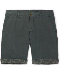 Etro - Tapered Linen Bermuda Shorts - Lyst