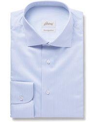 Brioni - Light-blue Slim-fit Cutaway-collar Striped Cotton-poplin Shirt - Lyst