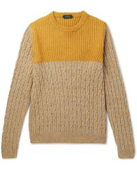 Incotex - Colour-block Mélange Virgin Wool And Yak-blend Sweater - Lyst