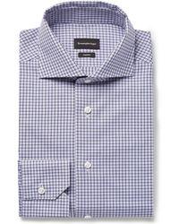 Ermenegildo Zegna - Trofeo Slim-fit Cutaway-collar Checked Cotton-poplin Shirt - Lyst