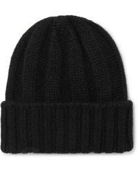4b1169e2192 Beams Plus Ribbed Wool Beanie in Black for Men - Lyst