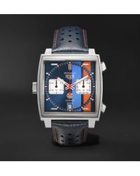 Tag Heuer - Monaco Gulf Edition Automatic 39mm Steel And Leather Watch - Lyst
