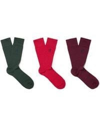 London Sock Co. - Three-pack Polka-dot Stretch Cotton-blend Socks - Lyst