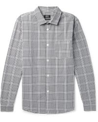 A.P.C. | John Slim-fit Checked Cotton And Linen-blend Shirt | Lyst