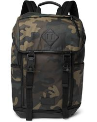 Polo Ralph Lauren - Camouflage-print Leather-trimmed Cotton-canvas Backpack  - Lyst 3881077797