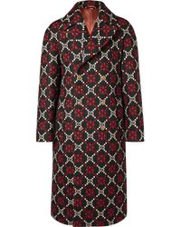 Gucci - Double-breasted Logo-jacquard Wool Coat - Lyst