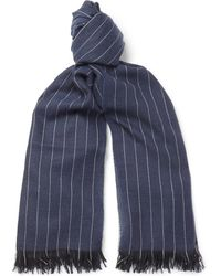 Emma Willis - Pinstriped Fringed Cashmere Scarf - Lyst
