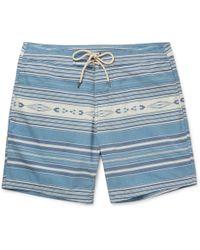 Faherty Brand - Mid-length Striped Swim Shorts - Lyst