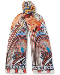 Etro - Printed Linen And Silk-blend Scarf - Lyst