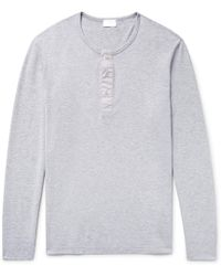 Handvaerk - Mélange Pima Cotton-jersey Henley Pyjama Shirt - Lyst