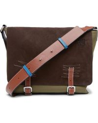 Loewe - Leather-trimmed Suede And Canvas Messenger Bag - Lyst