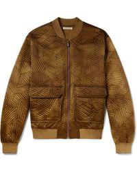 Bottega Veneta - Embroidered Washed-silk Bomber Jacket - Lyst