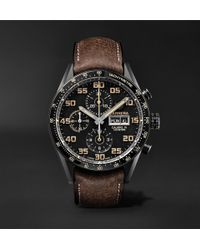 Tag Heuer - Carrera Automatic Chronograph 45mm Titanium And Leather Watch - Lyst