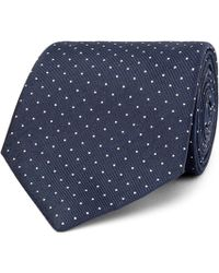 Hackett - 8cm Pin-dot Silk And Linen-blend Tie - Lyst