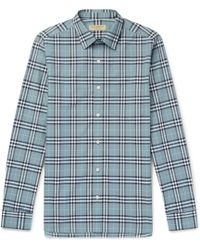 51aefeccf44144 Lyst - Burberry Brit Cotton And Linen-Blend Chambray Shirt in Blue ...