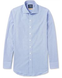 Drake's | Easyday Cutaway-collar Checked Cotton Shirt | Lyst