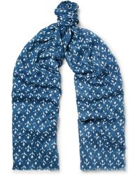Anderson & Sheppard - Printed Silk And Cashmere-blend Twill Scarf - Lyst