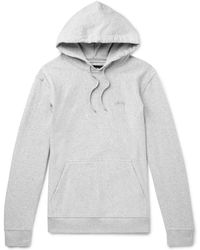 Stussy - Logo-embroidered Mélange Loopback Cotton-jersey Hoodie - Lyst