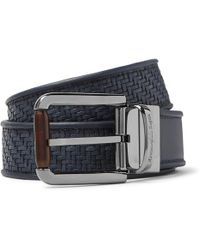 Ermenegildo Zegna - 3.5cm Blue Reversible Pelle Tessuta Leather Belt - Lyst