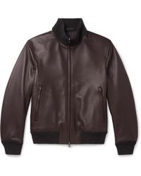 Brioni - Slim-fit Full-grain Leather Bomber Jacket - Lyst