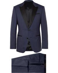 BOSS - Navy Helward Gelvin Slim-fit Wool And Silk-blend Tuxedo - Lyst