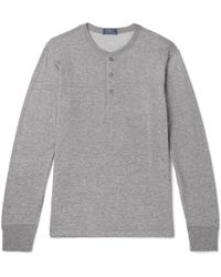 Polo Ralph Lauren - Mélange Cotton-blend Jersey Henley T-shirt - Lyst
