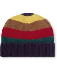 Etro - Striped Ribbed Cashmere Beanie - Lyst