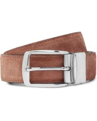 Isaia - 3cm Brown Reversible Leather And Suede Belt - Lyst
