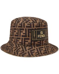 d6bbf22989b Fendi - Reversible Logo-print Cotton Bucket Hat - Lyst