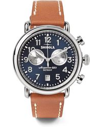 Shinola - The Runwell 41mm Chronograph Stainless Steel And Leather Watch - Lyst