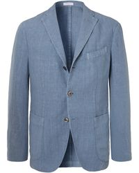 Boglioli - Blue K-jacket Slim-fit Unstructured Linen Suit Jacket - Lyst