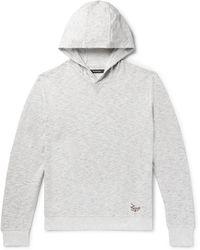 Ermenegildo Zegna - Embroidered Mélange Loopback Cotton-jersey Hoodie - Lyst