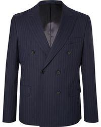 Officine Generale - Navy Double-breasted Pinstriped Wool Blazer - Lyst