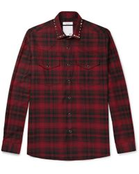 Valentino - Studded Checked Cotton And Wool-blend Flannel Western Shirt - Lyst
