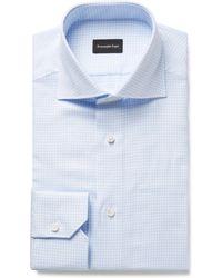 Ermenegildo Zegna - Light-blue Cutaway-collar Checked Cotton Shirt - Lyst