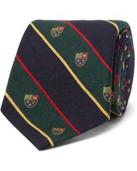 Polo Ralph Lauren - 8cm Madison Embroidered Striped Wool And Silk-blend Tie - Lyst